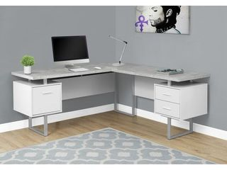 COMPUTER DESK   70 l WHITE   CEMENT lOOK lEFT RIGHT FACE
