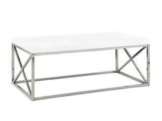 Coffee Table  Monarch Metal Coffee Table   White