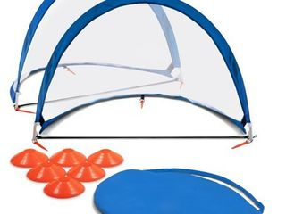 Training Equipment Pair of 4 Foot Pop Up Soccer Goals with Disc Cones  Blue