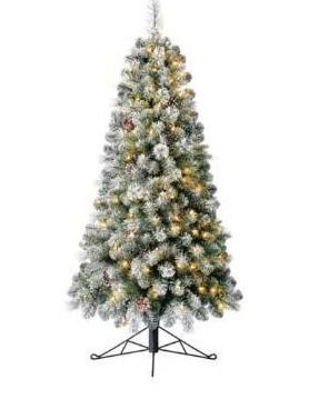 Home Heritage 5 Foot Flocked Half Pine Prelit Christmas Tree led lights