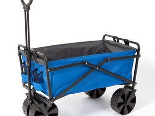 Seina Manual 150 Pound Steel Frame Folding Garden Cart Beach Wagon  Blue Gray