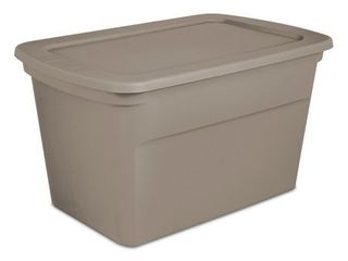 Sterilite 30 Gallon Heavy Duty Stackable Storage Tote  Hazelwood Taupe