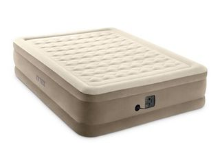 Intex Ultra Plush Fiber Tech Airbed Elevated Air Mattress   Built In Pump  Queen