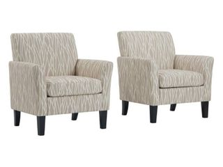 Handy living Oatmeal Tan Modern Geometric Maritza Flared Arm Upholstered Chairs  Set of 2