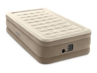 Intex Ultra Plush Fiber Tech Airbed Elevated Air Mattress w  Built In Pump  Twin