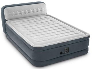 Intex Ultra Plush Dura Beam Deluxe Airbed with Built In Pump   Headboard  Queen
