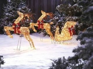 CANVAS Incandescent Golden Charm 2 Deer   Sleigh