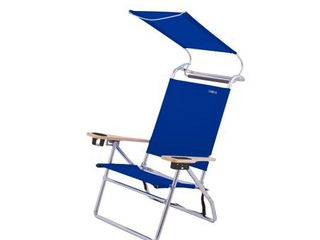 Copa Big Tycoon 4 Position Folding Aluminum Beach lounge Chair with Canopy  Blue