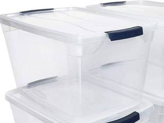 Rubbermaid Cleverstore 30 Qt  Plastic Storage Tote Container with lid  Clear