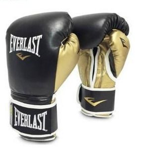 Everlast 14 oz Men s Powerlock Hook loop Gloves  Black Gold