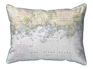 long Island Sound  New York Nautical Chart 20 x 24 Pillow  Retail   51 99