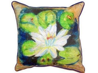 Extra large Beige Green Blue Water lily Outdoor Throw Pillow Retail   49 99