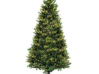 AsterOutdoor Pre lit Christmas Tree 7ft Artificial Dunhill Fir with 300 lights Foldable Stand for Indoor Outdoor Porch  1096 Branch Tips Xmas Holiday Decoration Easy Assembly