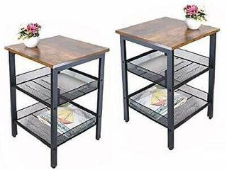 1 9 JPNTOYE End Table Set of 2 living 15 7aax15 7aax21 6aa lxWxH  Rust Wood