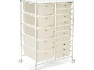 Seville Classics 15 Drawer Organizer Cart  White