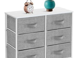 SorbusExtra Wide Dresser Organizer with 6 Drawers   White