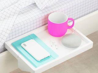 BedShelfie   Modern Bamboo Bedside Shelf   Space Saving  Floating Nightstand  in White