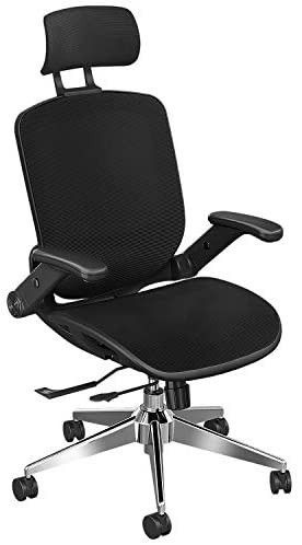 Ergonomic Office Chair with Headrest  Snoviay Executive Task Chair High Back Desk Mesh Computer Chair with Adjustable Flip up Armrest  lumbar Support  Reclining Swivel Chair