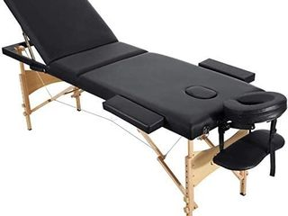 Entil Massage Table Spa Bed Portable 3 Sections Wooden legs with Face Hole Carrying Bag