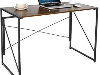 SUPER DEAl Folding Computer Writing Desk Wood and Metal Study Desk  PC laptop Home Office Study Table  Espresso