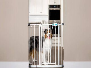 Carlson Extra Wide Walk Through Dog Gate with Door  Pressure Mount Kit   Wall Mount Kit