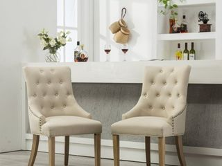 Roundhill Tan Button Tufted Solid Wood Wingback Hostess Chairs with Nail Heads  Set of 2