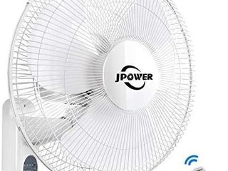 JPOWER 16 Inch Wall Mount Fan With Remote 2400CFM Mountable Oscillating Fan With 3 Speed Settings Adjustable Tilt  lightning Deal