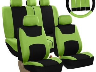 FH Group light   Breezy Green and Black Auto Accessories Set  with Steering Wheel Cover and Seat Belt Pads  Airbag Compatible and Split Bench Full Set Seat Covers