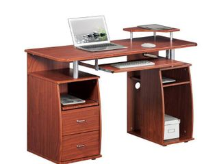 Wood Computer Desk with Drawers Mahogany   Techni Mobili