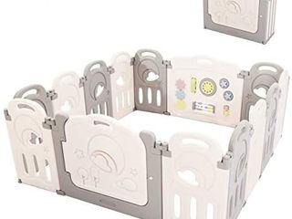 Fortella Cloud Castle Foldable Playpen  Baby Safety Play Yard with Whiteboard and Activity Wall  Indoors or Outdoors  14 Panel