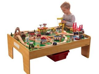KidKraft Adventure Town Railway Wooden Train Set   Table with EZ Kraft Assemblya with 120 accessories included
