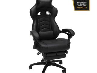 RESPAWN 110 Racing Style Gaming Chair  Reclining Ergonomic leather Chair with Footrest  in Black  RSP 110 BlK