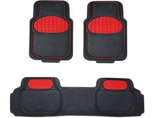 FH Group Universal Trim to Fit Heavy Duty Rubber Touchdown Floor Mats  3 Piece Set  Red