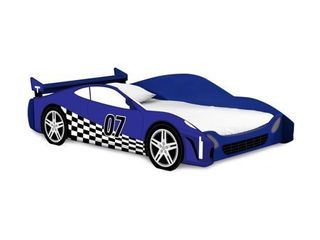 legare Kids Twin Bed  No Tools Assembly  Race Car Bed  Blue and White