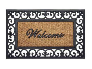 Achim Wrought Iron Rubber Doormat Fleur De lis   Beige Black  18 x30