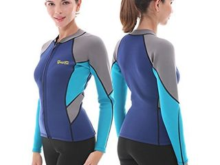 GoldFin Womens Wetsuit Top  2mm Neoprene Wetsuit Jacket long Sleeve Front Zip Wetsuit Shirt for Swimming Water Aerobics Diving Surfing Kayaking  Navy  Xl