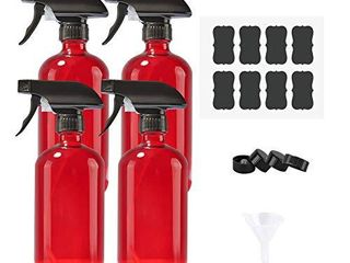 Empty Refillable Red Glass Spray Bottles of 4 Pack 16 oz for Essential Oil  Aromatherapy  Cleaning Products  Perfume Alcohol Sterilizer  with 4 Free Sprayers  4 Caps