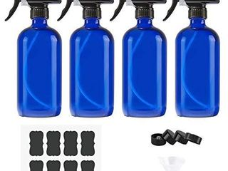 Empty Glass Spray Bottles of Blue 4 Pack 16 oz for Cleaning Solutions  Misting Glass Spray Bottles for essential oils  Aromatherapy  Perfume  Alcohol Sterilizer  with 4 Free Sprayers  4 Caps