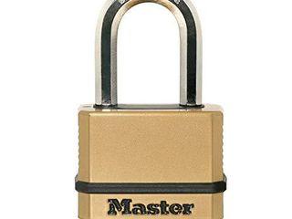 Master lock M175XDlF Heavy Duty Outdoor Combination lock  1 1 2 In  Shackle  Brass Finish