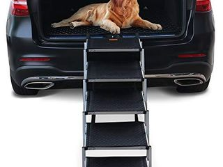 Niubya Dog Steps for large Dog  lightweight Aluminum Foldable  5 Steps Dog Stairs  Supports 150 200 lbs