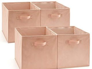 EZOWare Set of 4 Foldable Fabric Basket Bin  Collapsible Storage Cube Boxes for Nursery Toys  13 x 15 x 13 inches   Pink