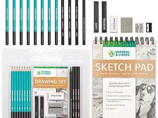 Drawing Set   Sketching and Charcoal Pencils   100 Page Drawing Pad