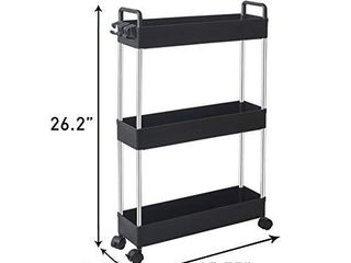 SOlEJAZZ Storage Cart 3 Tier Slim Mobile Shelving Unit Rolling Bathroom Carts with Handle for Kitchen Bathroom laundry Room Narrow Places  Black NOT FUllY INSPECTED