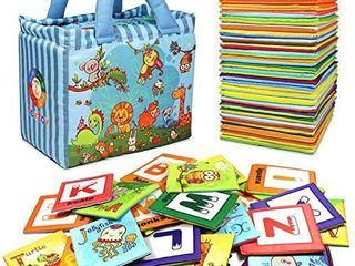 TEYTOY Baby Toy Zoo Series 26pcs Soft Alphabet Cards with Cloth Bag