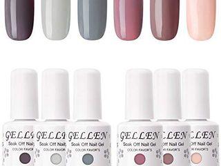Gellen Gel Nail Polish Set   Nude Grays 6 Colors  Popular Nail Art Colors UV lED Soak Off Nail Gel Kit