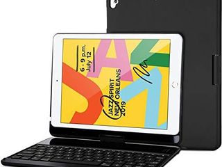 ProCase iPad 10 2  2020 8th Generation  2019 7th Generation  Keyboard Case with 7 Colors Backlit  360 Degree Rotation Protective Smart Cover with Wireless Keyboard for 10 2 iPad 8th   iPad 7th aBlack