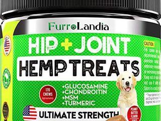 Furrolandia Hemp Hip   Joint Supplement for Dogs   Peanut Butter Flavor   170 Soft Chews
