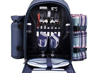 apollo walker Picnic Backpack Bag for 2 Person with Cooler Compartment  Detachable Bottle Wine Holder  Fleece Blanket  Plates and Cutlery  Blue  ONE PlASTIC CUP IS BROKEN MY