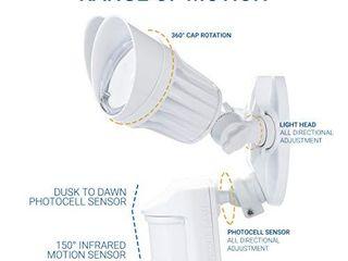 Hyperikon lED Security light with Motion Sensor  Outdoor Flood light with 2 Head Dusk to Dawn  20 Watts  Ul listed  White