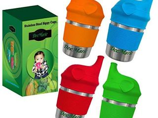 DeeMarie Stainless Steel Sippy Cups  for Toddlers Baby Kids  with Elephant Silicone Sippy lids and Grip Sleeves  BPA Free  No Spill  leak Proof  Eco Friendly   8oz 4Cup Bundle